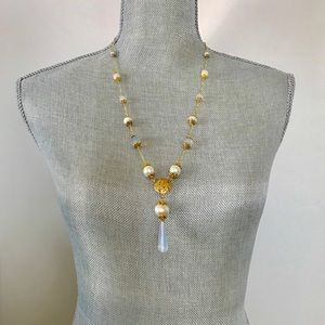 Jewelry - Necklace with pearls, crystals, stones and opal!⚜️